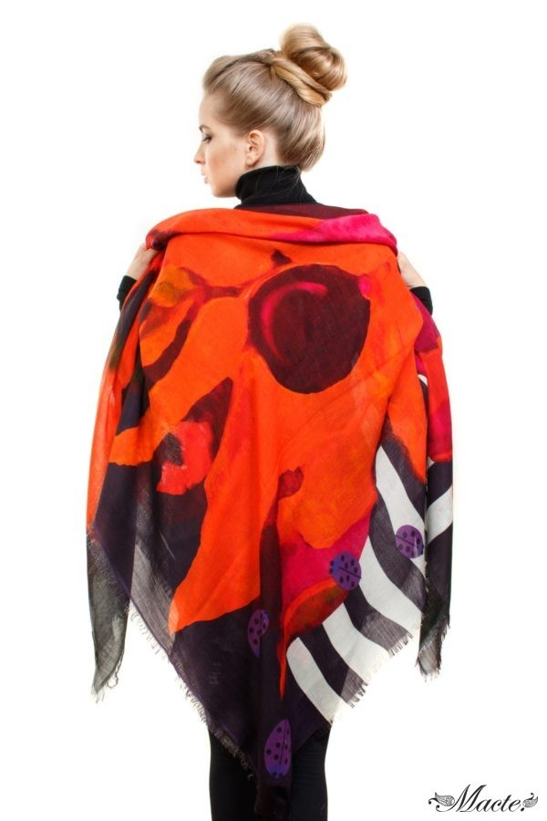 Red Cashmere Silk Shawl Flowers and Ladybirds Macte View 3