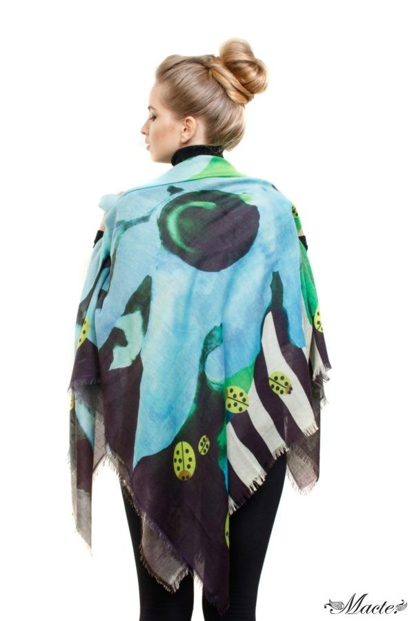 Blue Cashmere Silk Shawl Flowers and Ladybirds Macte View 3