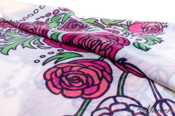 Rose and White Cashmere Silk Shawl Baroque Macte View 2