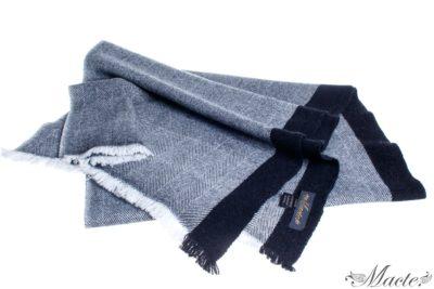 Black Cashmere Herringbone Scarf Esenia Macte View 1