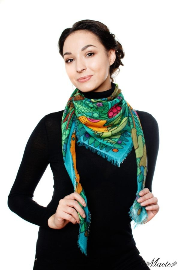 Green Cashmere and Silk Scarf Shawl Magical Garden Macte 5