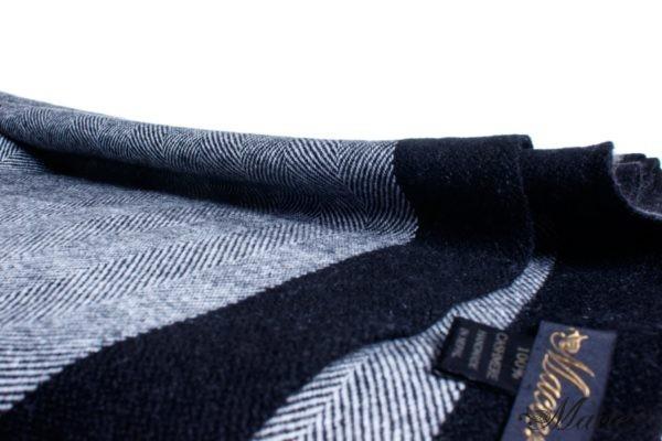 Black Cashmere Herringbone Scarf Esenia Macte View 2