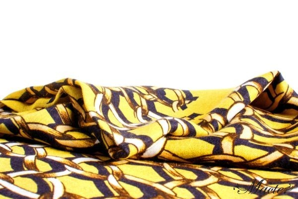 Yellow Cashmere and Silk Scarf Golden Chains Macte View 2