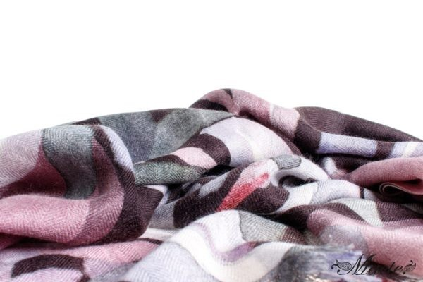 Grey and Pink Baby Cashmere Scarf Wrap Nocturnal Bloom Macte 2