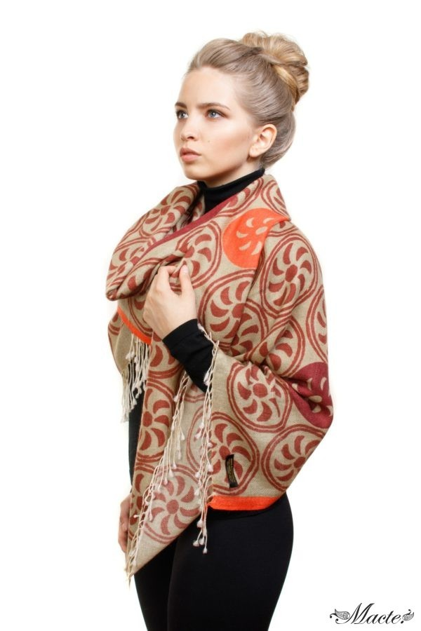 Beige Printed Scarf Shawl Endless Path Macte View 2