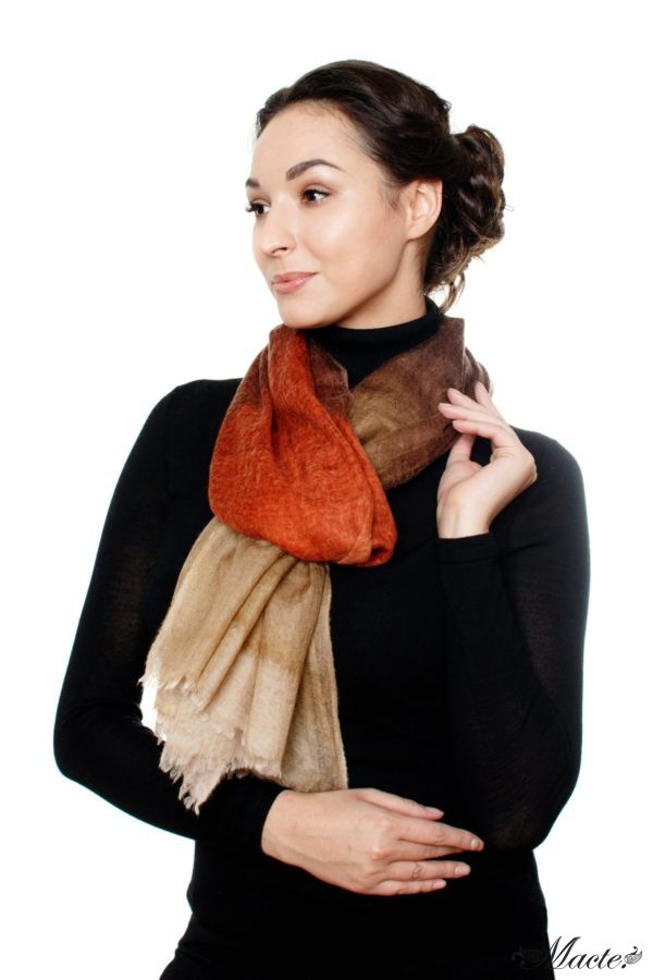 Edith Brown Cashmere Scarf Wrap Macte View 5