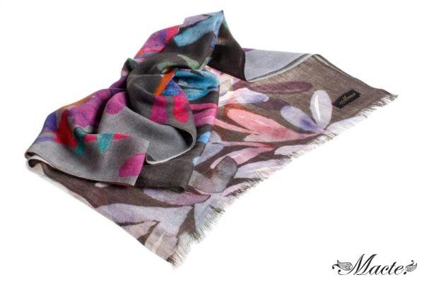 Bloom Grey Baby Cashmere Printed Scarf Shawl Macte