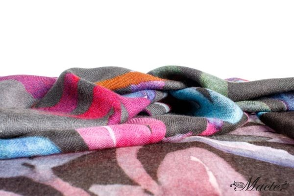 Bloom Grey Baby Cashmere Printed Scarf Shawl Macte 2