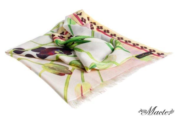 Pink Cashmere Silk Wrap Cosmic Tulips Macte View 1