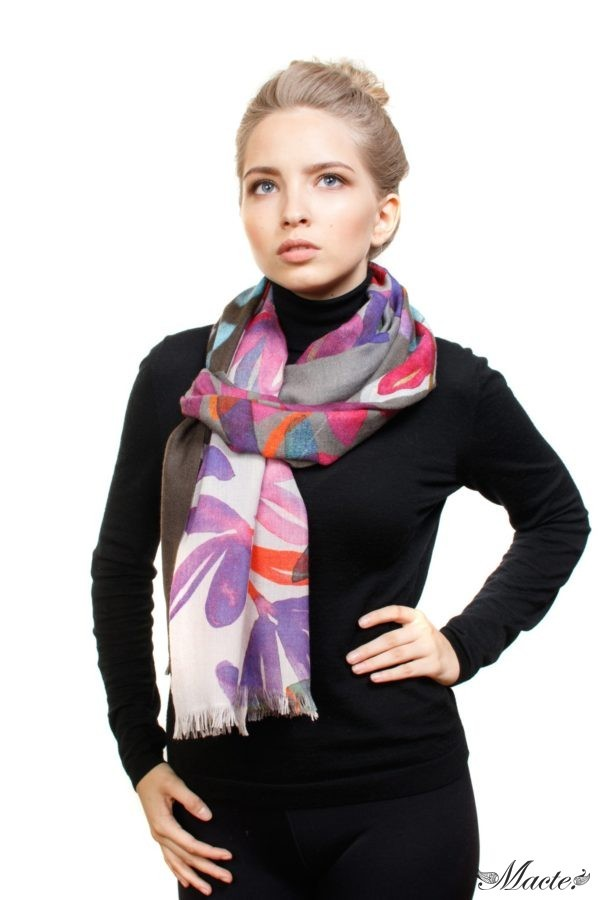 Bloom Grey Baby Cashmere Printed Scarf Shawl Macte 3