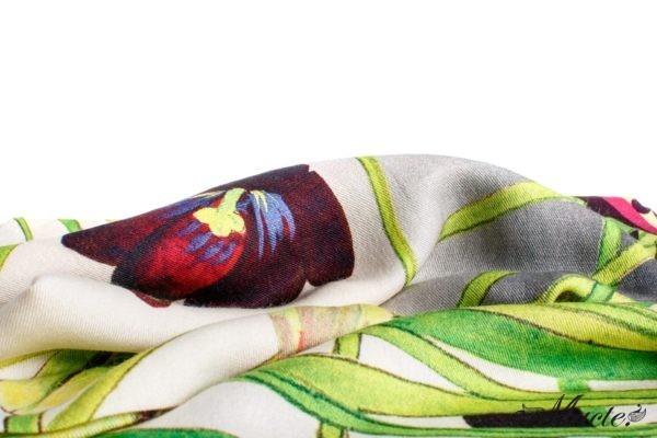 Grey Cashmere Silk Wrap Cosmic Tulips Macte 2