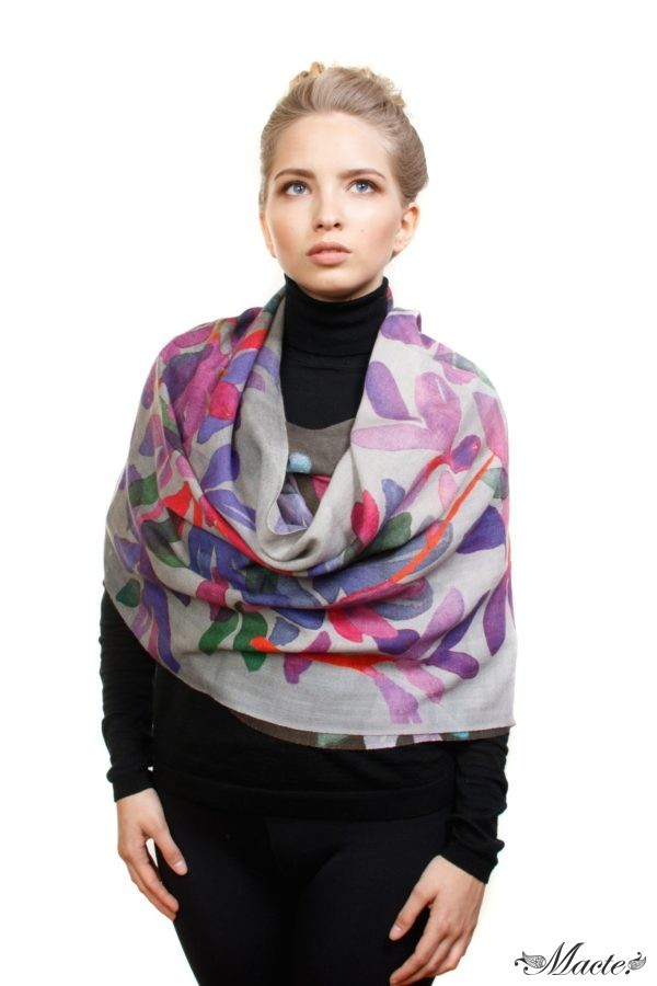 Bloom Grey Baby Cashmere Printed Scarf Shawl Macte 5