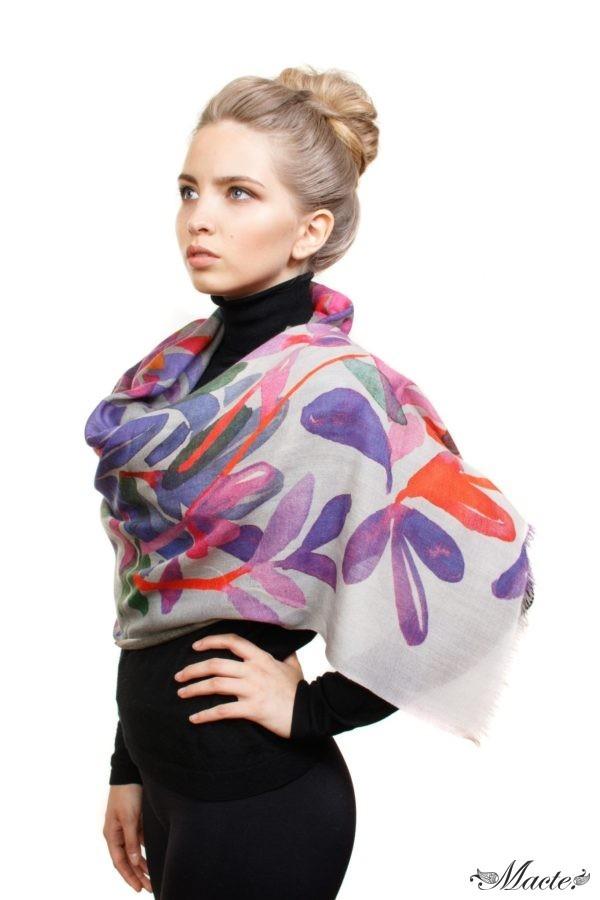 Bloom Grey Baby Cashmere Printed Scarf Shawl Macte 6