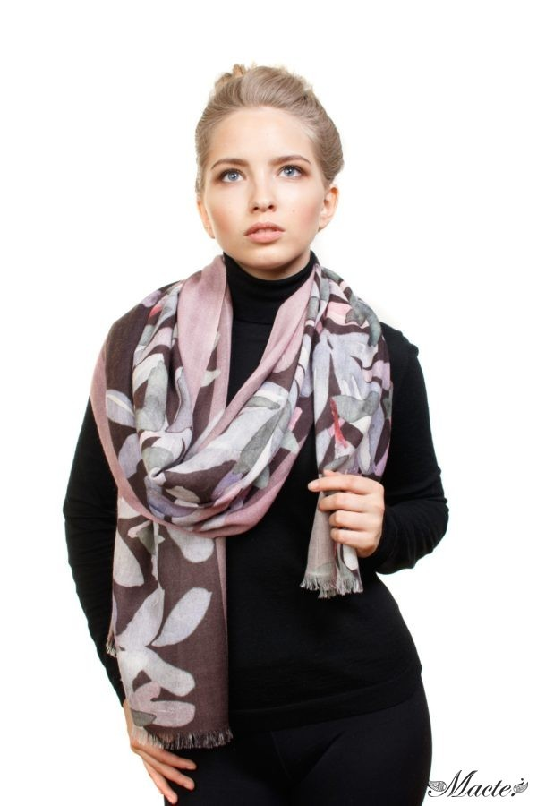 Grey and Pink Baby Cashmere Scarf Wrap Nocturnal Bloom Macte 3