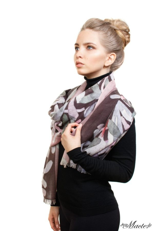 Grey and Pink Baby Cashmere Scarf Wrap Nocturnal Bloom Macte 4