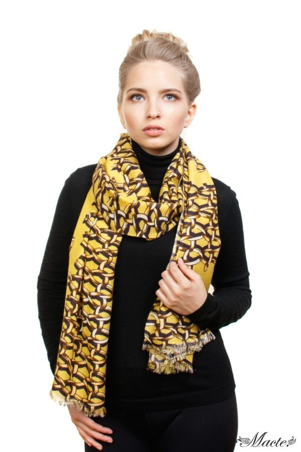 Yellow Cashmere and Silk Scarf Golden Chains Macte View 3