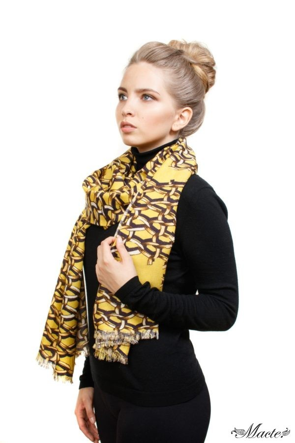 Yellow Cashmere and Silk Scarf Golden Chains Macte View 4