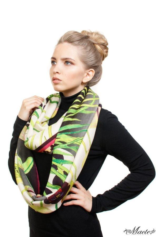 Grey Cashmere Silk Wrap Cosmic Tulips Macte 6